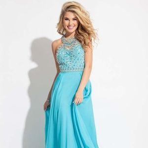 RACHEL ALLAN Aqua Blue Beaded Chiffon Gown! #2068